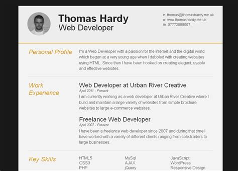 11 free psd html resume templates web graphic design
