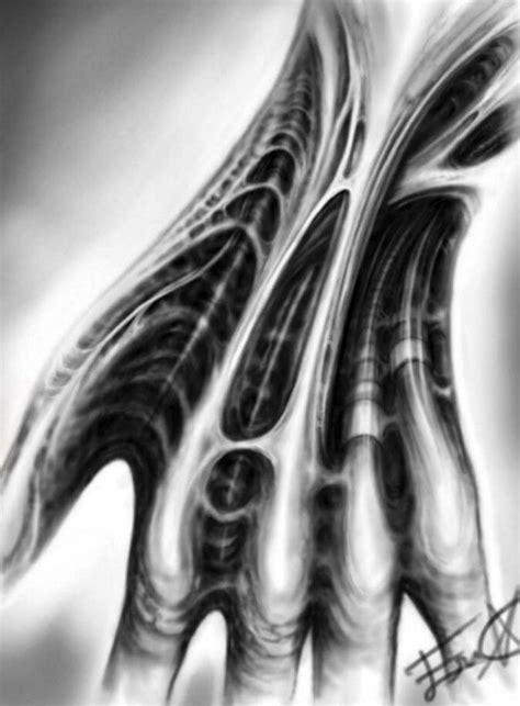 Biomechanical digital hand drawing | biomech art