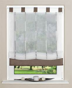 Fertiggardinen Mit Schlaufen : raffrollo rollo schlaufen wei transparent mit braunen streifen 100x140cm gardinen ~ Whattoseeinmadrid.com Haus und Dekorationen