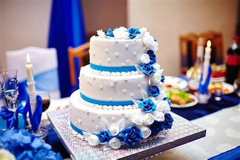 Royal Blue And Silver Wedding Cake Ideas White Cakes Best