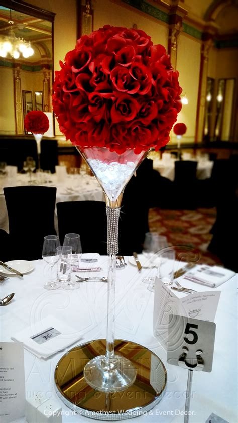 crystal martini  red rose ball diy