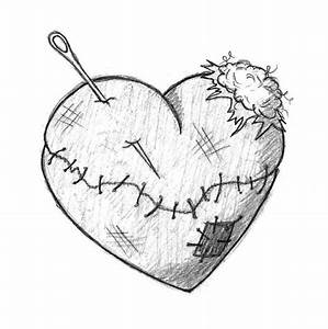 Drawn broken heart her - Pencil and in color drawn broken ...