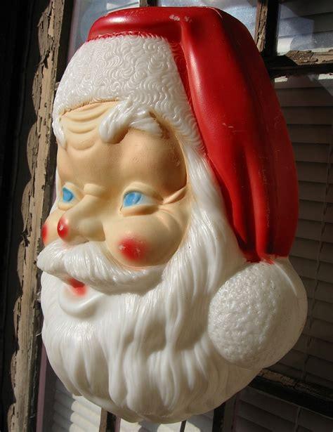 large blowmold santa face lite up vintage blow molds