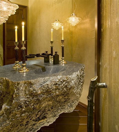 Get This Look: Earthy Powder Room   Interior Design