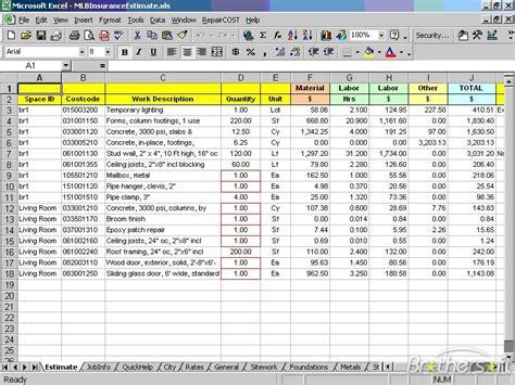 cost estimate free repaircost estimator for excel repaircost