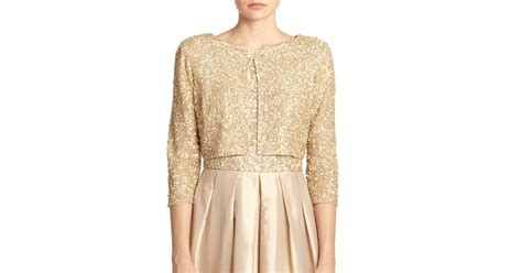 Aidan Mattox Sequined Cropped Cardigan In Gold (light Gold)