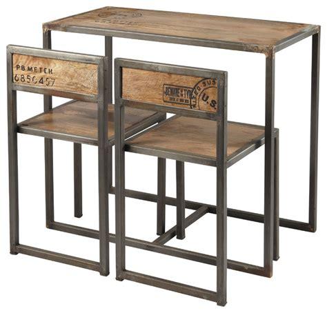 table et chaise restaurant manufacture table haute de salle à manger 2 chaises en manguier et métal l 90