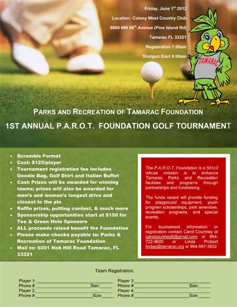 parot foundation golf tournament flyer tamarac talk