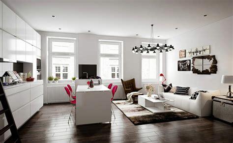 amenagement sejour cuisine pièce de vie moderne dans un petit appartement de ville