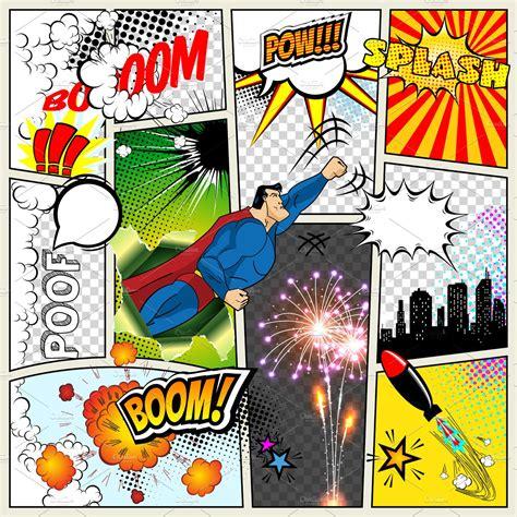 mock    typical comic book page vector comics pop