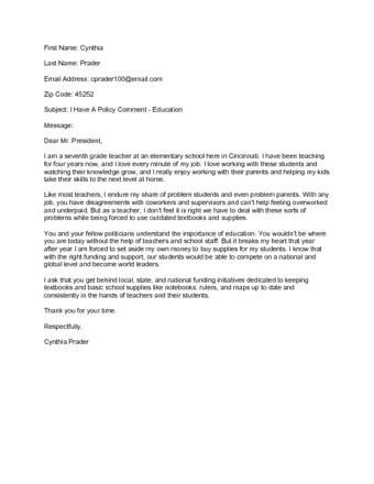 letter to the president how to contact the president of the united states with
