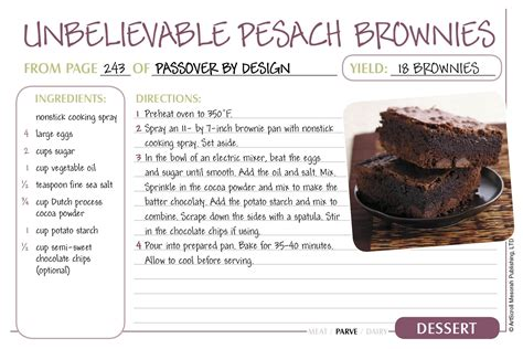 passover recipe cards   official