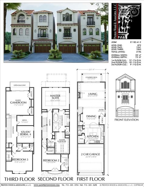 townhouse plan   town house plans
