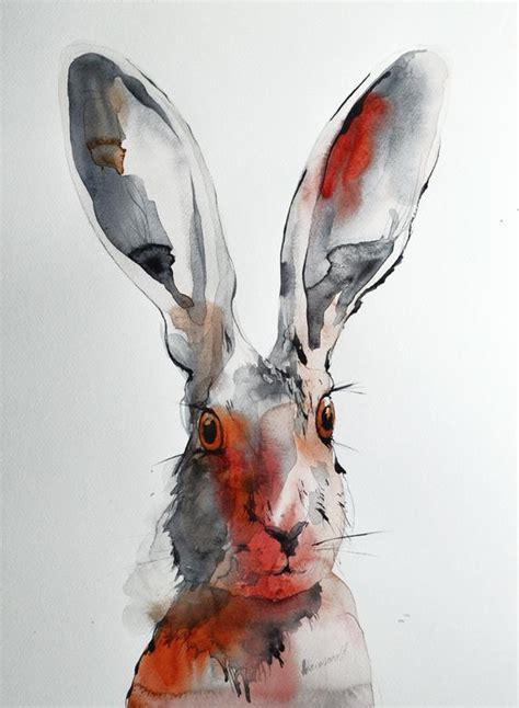 hare original watercolor painting    kind artwork