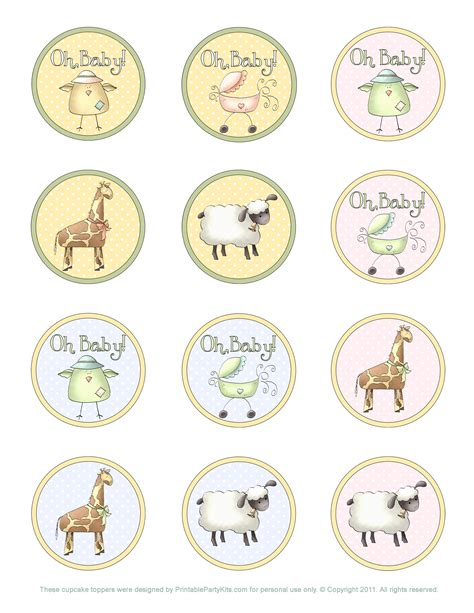 baby shower cupcake topper template printable party kits