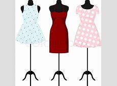 Different dresses on a mannequin Vector illustration