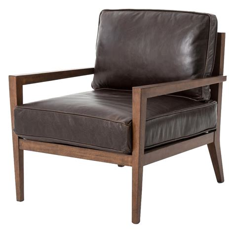 Armchair Contemporary by Kyrie Mid Century Brown Leather Angular Armchair Kathy