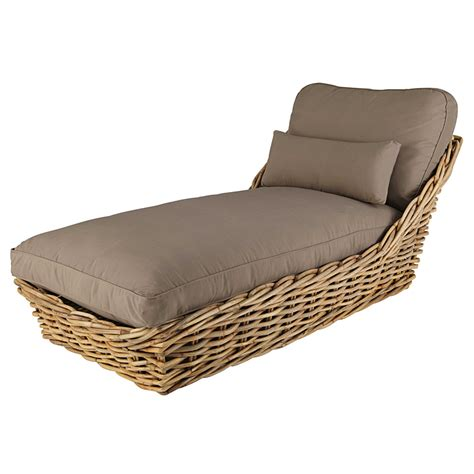 chaise longue in garden chaise longue in rattan with taupe cushions st tropez maisons du monde