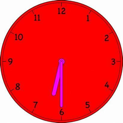 Clock Analog Clip Clipart Six Thirty Vector