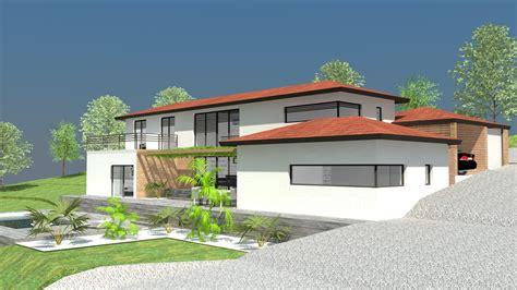 maison contemporaine avec toit tuiles immeuble maisons contemporaines tuiles et