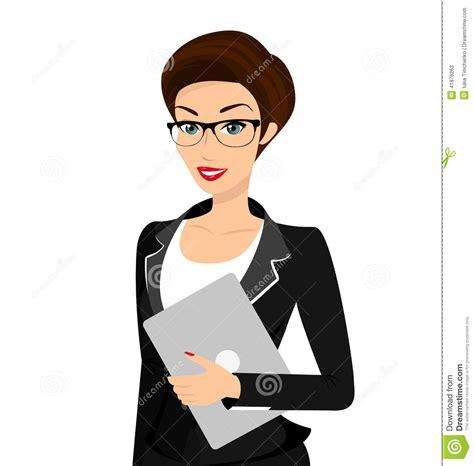 bureau secretaire blanc la femme d 39 affaires porte le costume noir d 39 isolement
