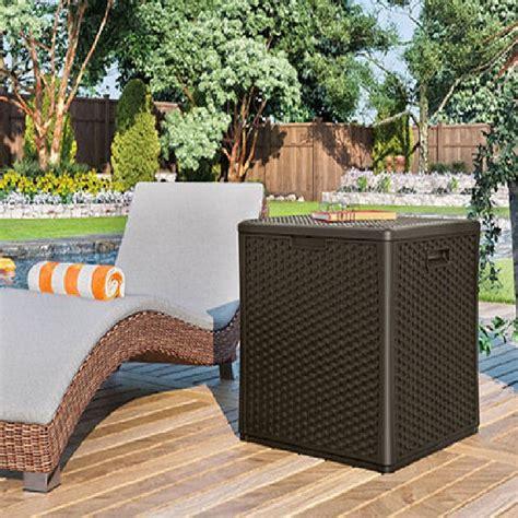 Suncast Large Deck Box Assembly by Suncast Rattan Style Deck Box Cube 227 Litres Elbec