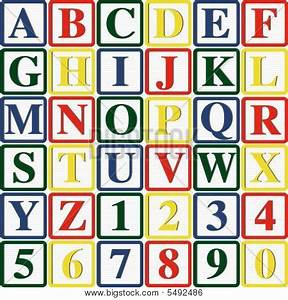 baby blocks letters and numbers vector illustration image With block letters and numbers