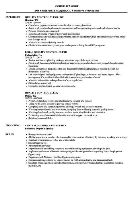 quality clerk resume sles velvet