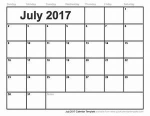 July 2017 Calendar Pdf | weekly calendar template