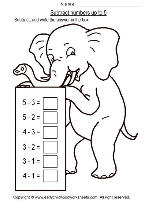 Free Coloring Pages Of Simple Subtraction