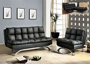 Black leather futon sofa bed chair set comfy pillow top for Sofa bed and chair set