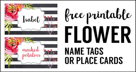 great papers place cards template flower place card holder or food labels free printable