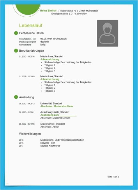 Muster Lebenslauf by Lebenslauf Vorlage Mit Foto Cool Kostenlose Lebenslauf