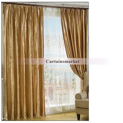 Gold Velvet Fabric Curtains For Thermal And Blackout