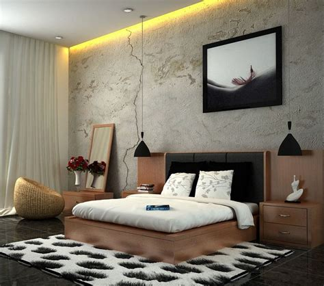 edgy  cool bedroom interior decor ideas white brown