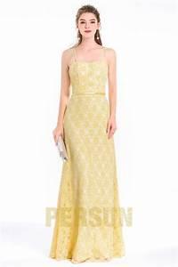 elegante robe jaune pour soiree gala avec bretelles fines With robe de mariée dentelle avec parure bijoux soirée