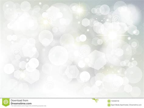 Winter Birthday Background by Silver Bokeh Lights Blurred Wallpaper Stock
