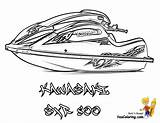 Jet Ski Coloring Boat Pages Kawasaki Bass Printables Boats Template Sxr Yescoloring Paper Fishing Coolest Water sketch template