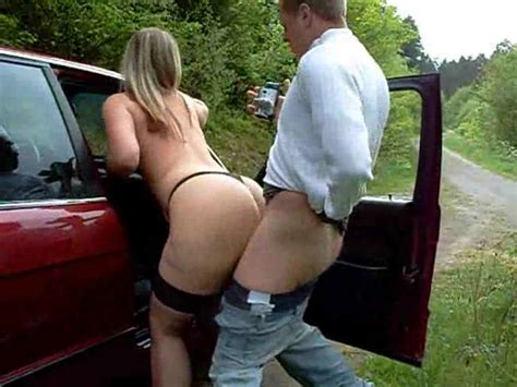busty amateur fucked by the car outdoor porn