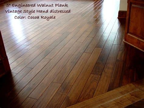 Hand scraped prefinished custom walnut plank   Traditional