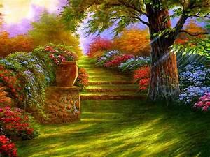 1024x768 Flower Garden, Garden, Magic Garden Road ...