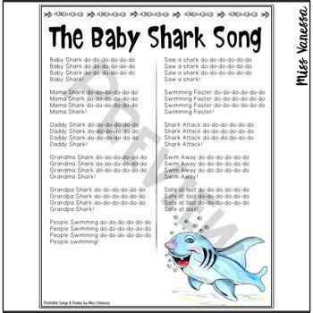 baby shark song printable lyrics   vanessa tpt