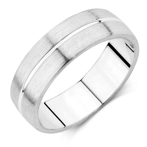 s wedding band in 10ct white gold