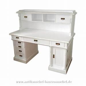 Schreibtisch Mit Aufsatz : sbt 50 sta schreibtisch mit aufsatz landhausstil wei massiv ~ Orissabook.com Haus und Dekorationen