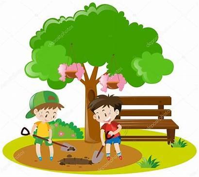Digging Hole Boys Garden Vector Dig Illustration