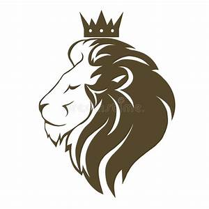 Lion head with crown logo stock vector. Illustration of ...