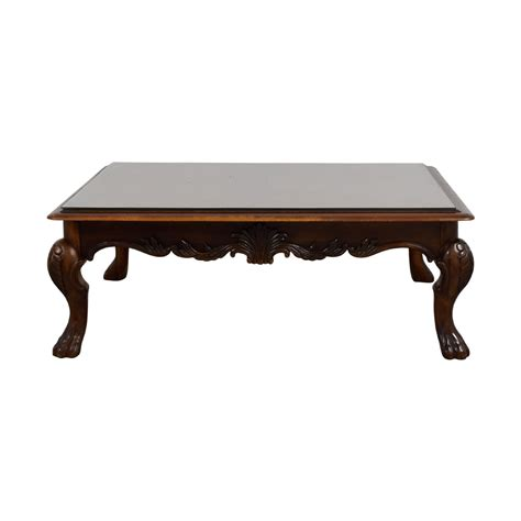 Coffee table ideas to make your living room look sophisticated. 75% OFF - Rectangular Carved Wood Coffee Table with Glass Top / Tables