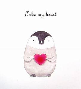 Penguin Love Illustration Print Cute Penguin Drawing by ...