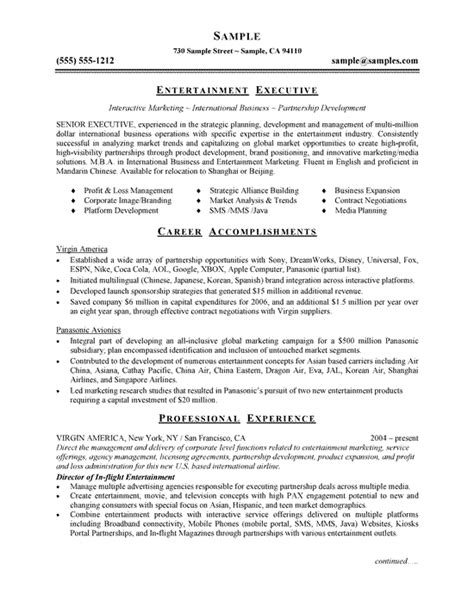 Entertainment Resume Template by Entertainment Executive Resume Exles Resume