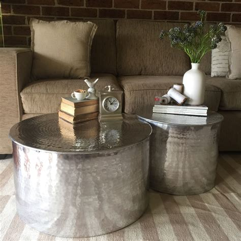 drum style coffee table set of 2 silver aluminium coffee tables round drum style